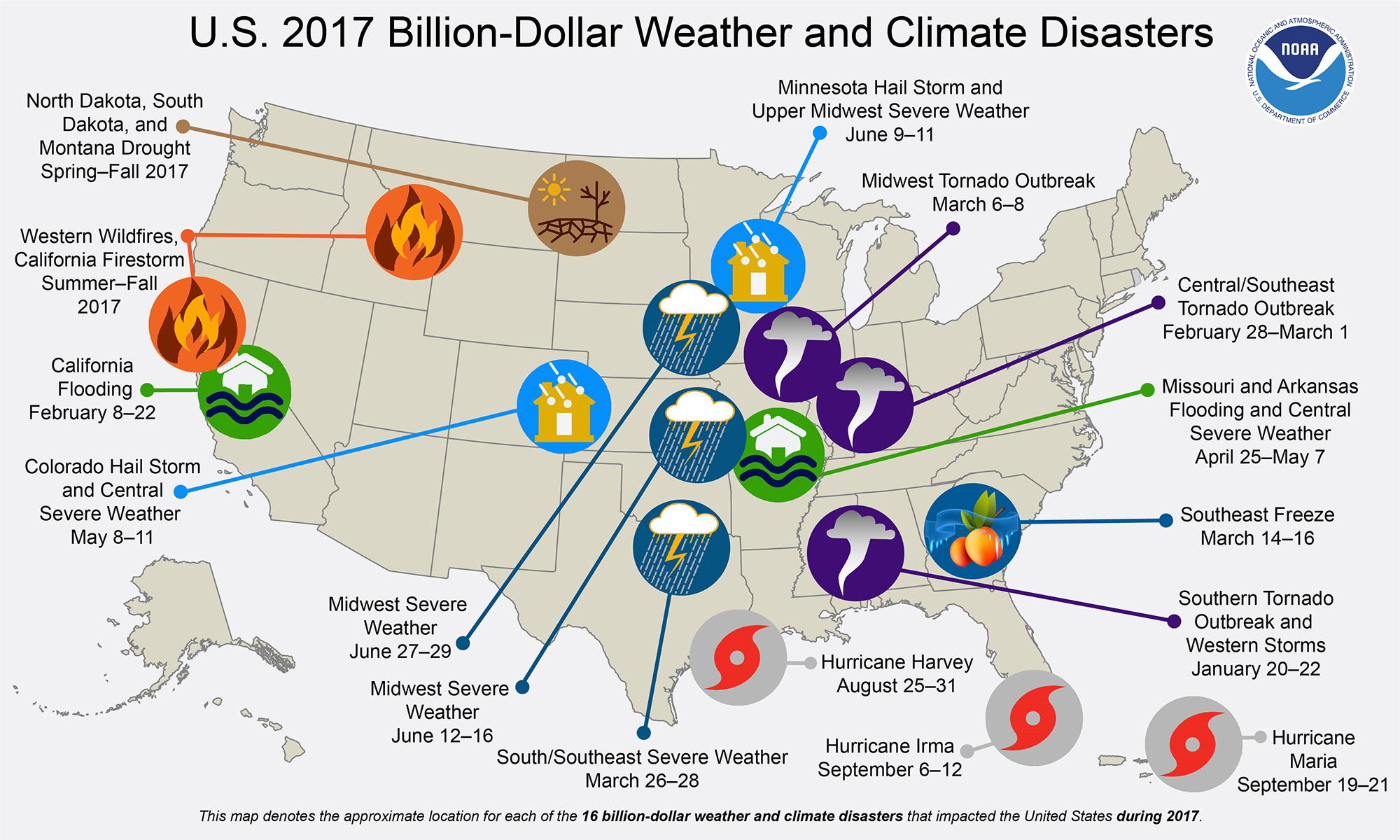 U.S. 2017 Billion-Dollar Weather and Climate Disasters Map
