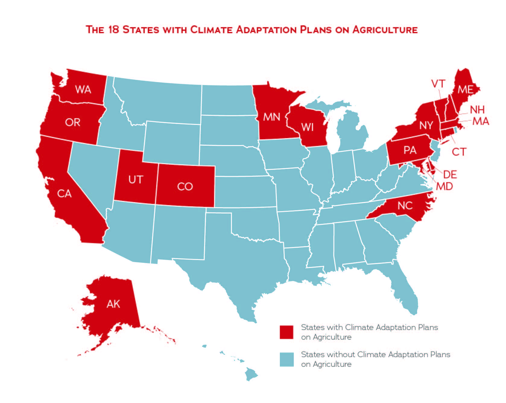 State Climate Adaptation Plans for Agriculture Map