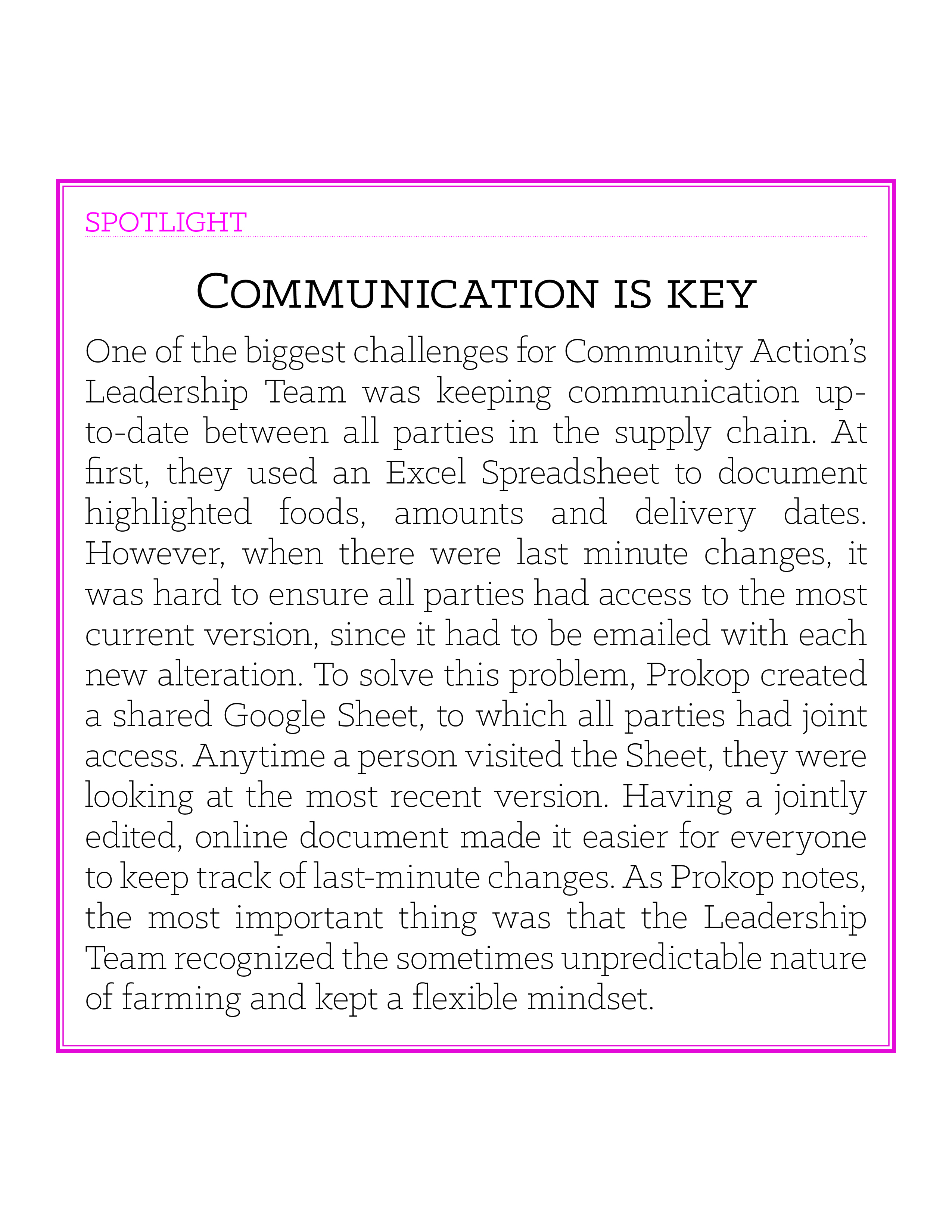 Spotlight box: Communication is key