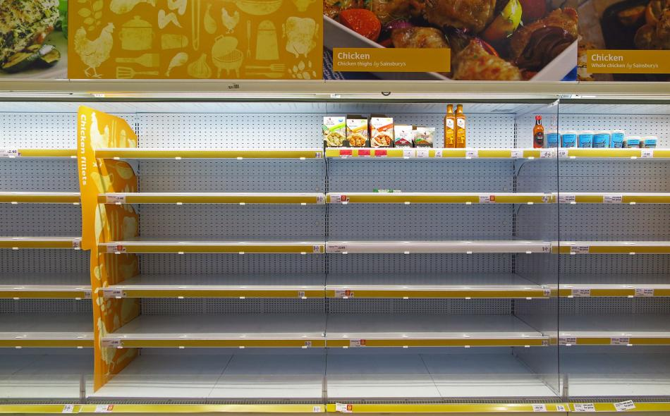 Empty food shelves during coronavirus