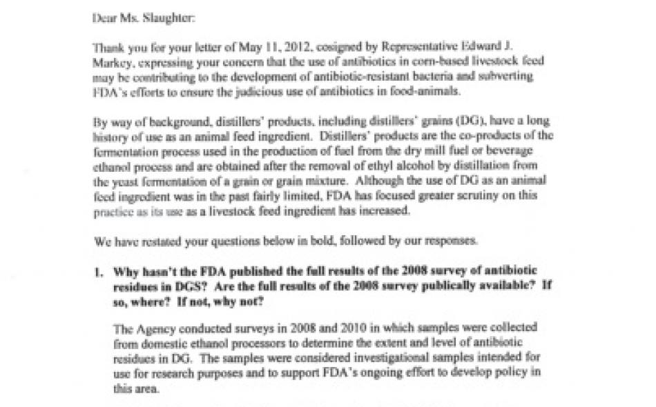 FDA refuses (again) to regulate antibiotics used in making ethanol