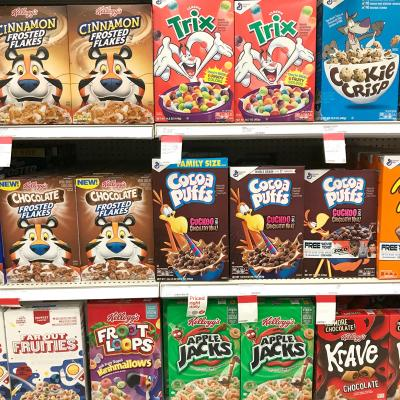 Cereal boxes with cartoon characters