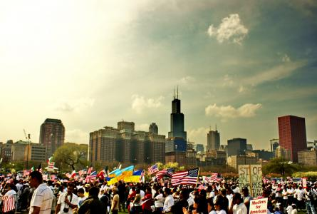 Marchers in Grant Park on May Day
