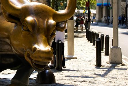 Charging Bull, or The Wall Street Bull, in New York City